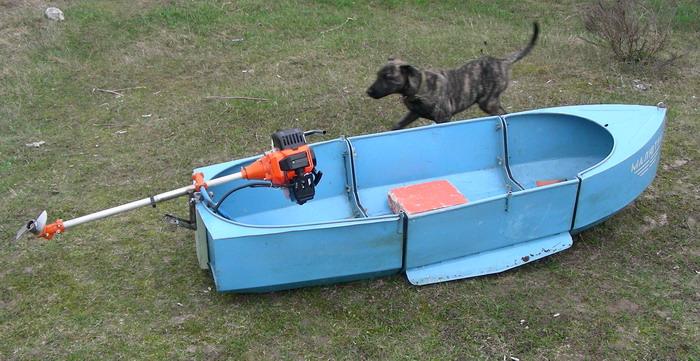 Двигатель для лодки из мотокосы