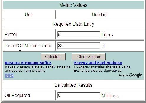 Калькулятор  расчёта пропорций масло-бензин